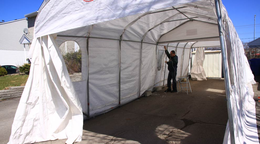 Tempo Car Shelter : Installation d abris auto temporaires et protecteurs de