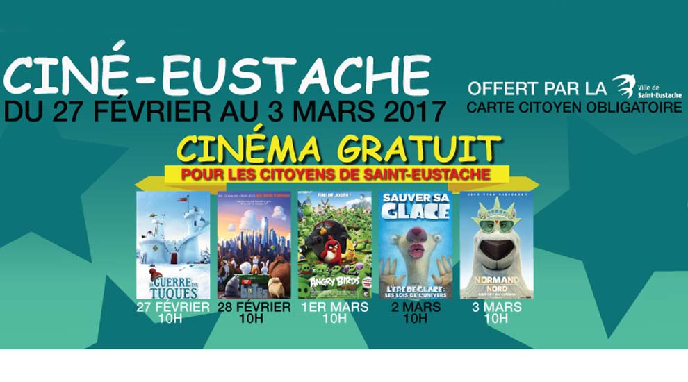 Ville de saint-Eustache - Du cinéma pour enfants gratuit pour tous durant la semaine de relâche