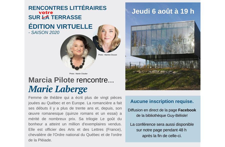 Ville de saint-Eustache - Marcia Pilote rencontre sur la terrasse... Marie Laberge