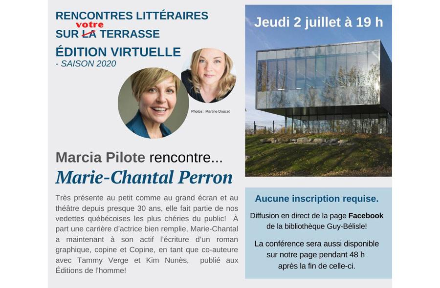Ville de saint-Eustache - Marcia Pilote rencontre sur la terrasse... Marie-Chantal Perron