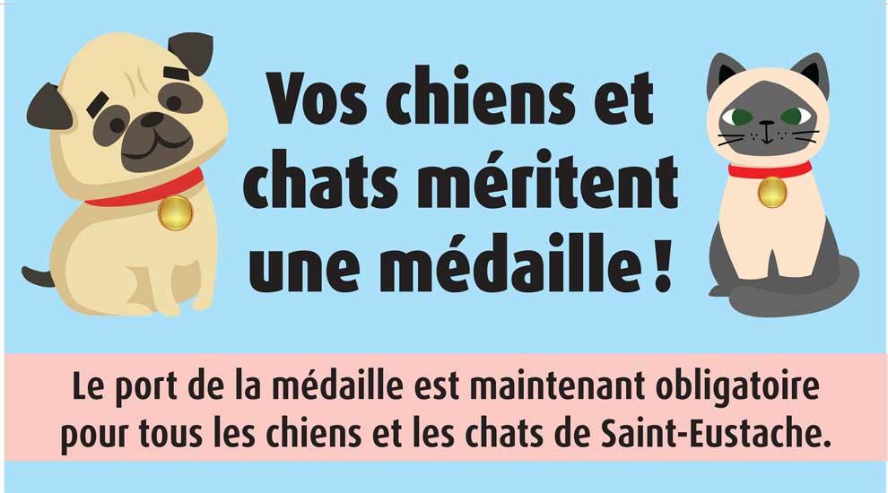 Nouveau règlement sur les animaux à Saint-Eustache - Vos chiens et chats méritent une médaille!