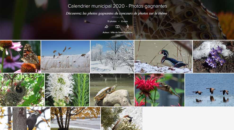 Ville de saint-Eustache - Photos gagnantes du calendrier municipal 2020