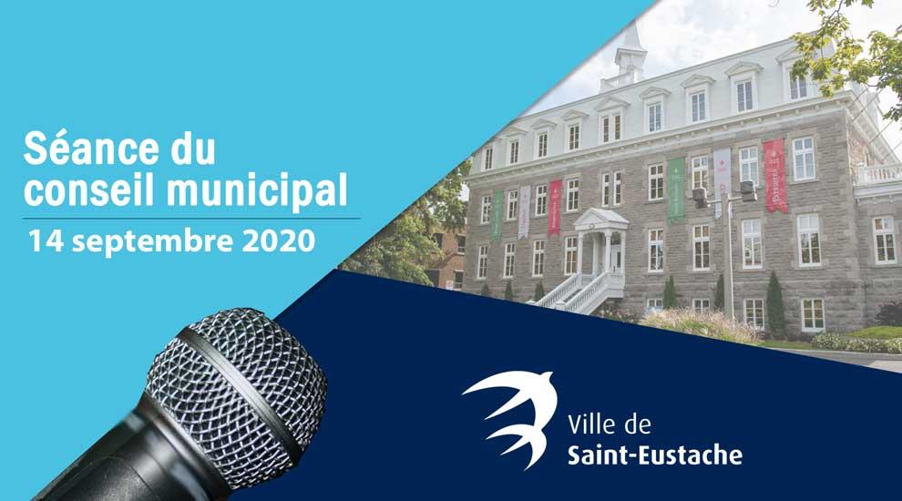 Ville de saint-Eustache - Séance ordinaire du conseil municipal à huis clos le 14 septembre 2020