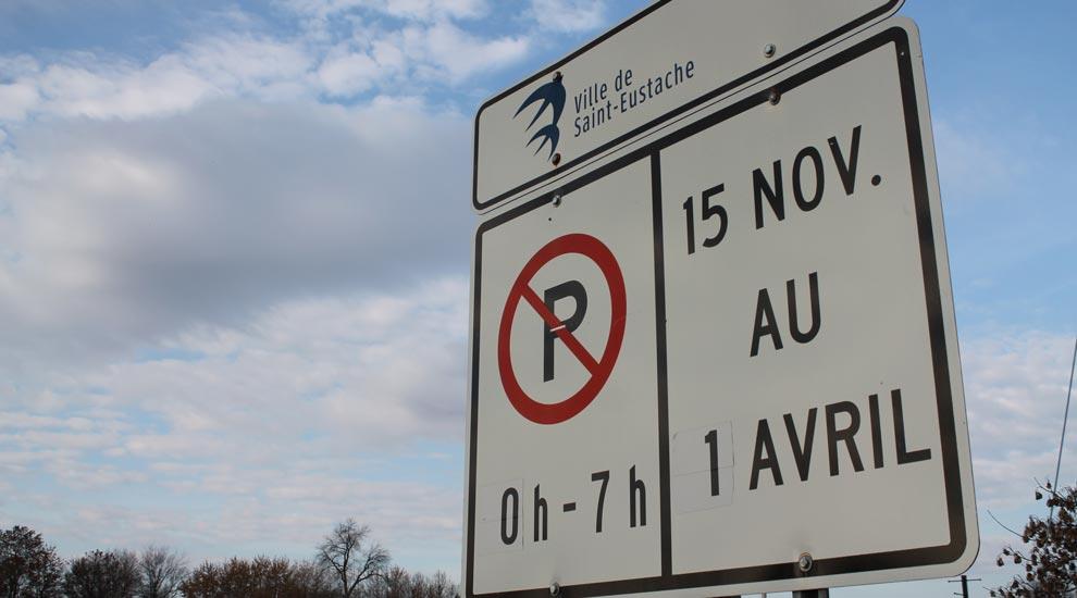 Ville de saint-Eustache - Interdiction de stationnement de nuit sur la voie publique du 15 novembre au 1er avril inclusivement